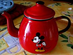 French reproduction Vintage Disney Mickey Mouse Red Enamel Tea Pot. I have this in mustard colour.