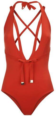 b2b3888d799 Aquamarine Tango Red Plunging Halter-Neck Swimsuit With Waist Ties   soft belt