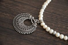 Ethnic jewelry Pearl necklace silver filigree pendant by Ahkriti, $35.00