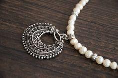 Ethnic jewelry Pearl necklace silver filigree pendant by Ahkriti, $35.00