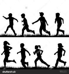 Children running vector image on VectorStock Running Silhouette, Silhouette Clip Art, Persona Vector, Photoshop Essentials, Running Drawing, Running Cartoon, Running Pose, Around The World Theme, People