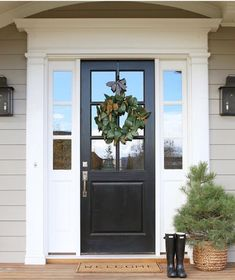 70 Beautiful Farmhouse Front Door Design Ideas And Decor. If you are looking for 70 Beautiful Farmhouse Front Door Design Ideas And Decor, You come to the right place. Door Design, Painted Front Doors, Brick Exterior House, House Exterior, Porch Decorating, Black Front Doors, Front Door Decal, Farmhouse Front, Front Door Design