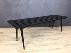 Black Slatted Bench