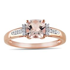 Miadora 10k Rose Gold Morganite and Diamond Accent Ring | Overstock.com Shopping - Top Rated Miadora Gemstone