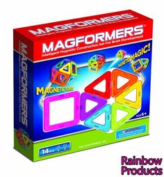 Rainbow Squares and Triangles Set- 14 pcs  Explore and Experiment with these two basic geometric shapes, the square and triangle to create more complex 3-D models.  Feel the magnetic force and have fun exploring the Magformers connection possibilities.