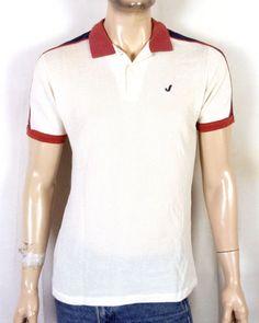 638c392aff vtg 70s Jantzen mesh ReTrO Polo Shirt Striped Sleeve Trim Ringer SKATE sz  M/L