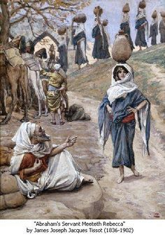 Phillip Medhurst presents James Tissot Bible c 1899 Abraham's Servant Meets Rebecca Genesis Jewish Museum New York. By (James) Jacques-Joseph Tissot, French, Gouache on board. New York Canvas, Jewish Museum, Palette, Biblical Art, Rebecca James, Art Database, Cool Posters, French Artists, Great Artists