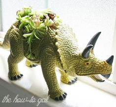 The How-To Gal: DIY Dinosaur Succulent Planter Dinosaurs growing green!