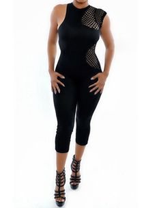 Irregular Mesh Insert Black Solid Sleeveless Party Club Wear Jumpsuit