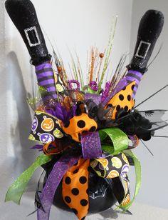 Witch Cauldron Centerpiece, Witch Legs Centerpiece, Halloween Witch Decor…                                                                                                                                                     More