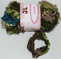 Fringe Ribbon Angelika Yarn NEWEST Color 805 Olive by JuliaLCraft, $3.75