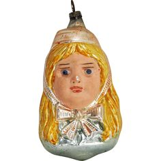 Antique German Blown Glass Girl with Glass Eyes Christmas Ornament ca1910