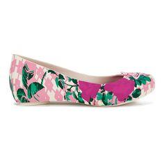 Vivienne Westwood for Melissa Women's Ultragirl 15 Ballet Flats - Pink... (1.505 ARS) ❤ liked on Polyvore featuring shoes, flats, floral ballet flats, pink flats, peep toe flat shoes, pink flat shoes and pink ballet shoes