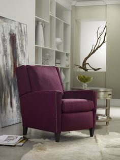 Not your parent's recliner!  Check out our Graydon recliner in a sassy raspberry coloration. #sam_moore