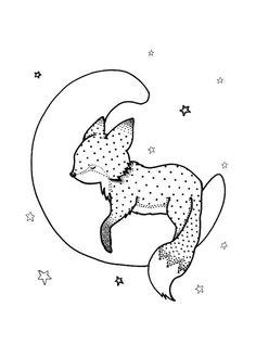 Goodnight Fox Greeting Card by Hilari Alsip, fox on moon, nursery print