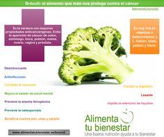Los beneficios de consumir brócoli: es el alimento que más nos protege contra el cáncer. #alimentatubienestar #infografia