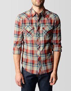 True Religion Brand Jeans, FLANNEL WESTERN MENS PLAID SHIRT, se autumn, Mens : Tops : Shirts, MP4BV92VR6343