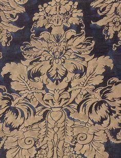 Dandolo in midnight blue & silvery gold In Blue: http://fortuny.com/Fabrics.aspx#d31ac286-c500-4e11-9fc6-e69a4fd2ec00