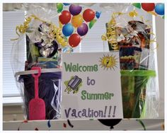 """love this idea- have a """"welcome to summer"""" sign w/ a bucket filled w/ summer toys (beach balls, bubble toys, swim goggles, sand toys, sunglasses, etc) waiting for the kids when they get home on the last day of school."""