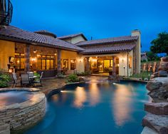 Hacienda Style House Design Covered Patio with columns.