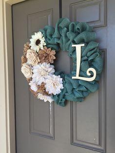 Burlap Floral Wreath summer wreath burlap by TurquoiseOwlDesign