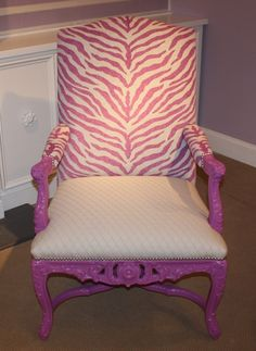 Duralee-N. Hamilton Street.  Fabulous orchid-painted chair upholstered in Eileen Kathryn Boyd Zebra print fabric.  #hpmkt