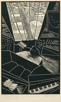 WHARTON ESHERICK, Of a Great City—Theodore Dreiser, 1928. Wood engraving. Theodore Dreiser papers, Courtesy Rare Book and Manuscript Library, University of Pennsylvania. / X-tra Online