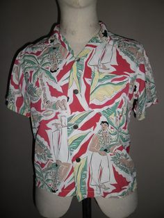 e624ef740 Reserved for Sarah,Sun Surf Multi Color Rayon Hawaiian Shirt ,Rare Pattern  Design Eating a Pig ,Toyo Made in Japan,Sz XS,Excellent condition