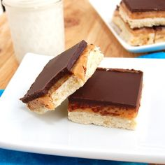 Millionaire's Shortbread.  I had these for the first time while in Scotland a few years back.  Never knew the name of them until a few years ago, when a ran across a recipe similar to this one a few years later :-)  These are kind of like a homemade Twix Bar.  The caramel filling is made with sweetened condensed milk.