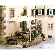 Italy Photograph - Tuscan Decor - Sunny Spot in Tuscany - Cream Neutral Art - Cafe Photo - Outdoor Dining - Italian Print - 8 x 10 found on Polyvore
