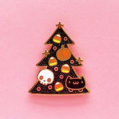 Halloween Glitter Catmas Tree Enamel Pin – The Pink Samurai Halloween Trees, Halloween Cat, Cat Pin, Cool Pins, Pin And Patches, Hard Enamel Pin, Black Glitter, Lapel Pins, Pin Collection