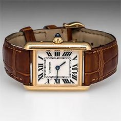 Cartier Tank Watch Model 2442 18K Gold w/ Leather Bracelet