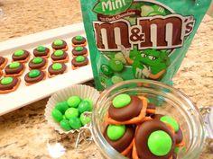Dark Chocolate Mint Pretzel Kisses for St. Patrick's Day