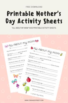 These free printable Mother's Day activity sheets are a fun way to celebrate mom and all that they find special about her. Mother's Day Activities, Printable Activities For Kids, Kids Sheets, Valentine's Day Printables, Activity Sheets, Cool Kids, Kids Ministry, Sage, Butterflies