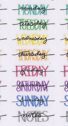 Hand Drawn Bullet Journal (BUJO) Style Weekly Headers for your planner. Each sheet contains 4 sets of Weekday Names and Notes Headers. Each Sticker is approx inches wide. Due to the hand drawn nature of these stickers the size will have slight variations. Bullet Journal Headers, Bullet Journal Banner, Bullet Journal 2019, Bullet Journal Notebook, Bullet Journal Ideas Pages, Bullet Journal Inspiration, Bullet Journals, Daily Journal, Fitness Journal