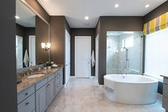 Long day?  Soak & relax in this incredible freestanding tub.  See more bathroom design ideas-  http://arhomes.us/turnberry1336
