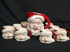 VTG Santa Claus Winking Pitcher 8 Mugs Cups LOT Set Jug Drink Christmas Holiday