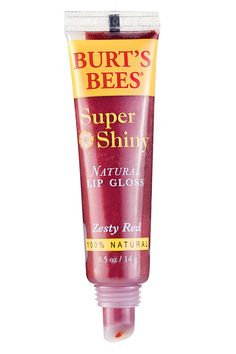 """Our pros turn to almond oil-based,  Burt's Bees Super Shiny Lip Gloss to """"make any lip more luscious and juicy.""""   - ELLE.com"""