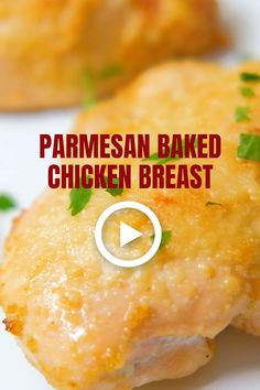 Parmesan Baked Chicken Breasts - JUICY, moist and tender chicken breasts you'll ever bake. Baked Chicken Cutlets, Moist Baked Chicken, Baked Greek Chicken, Roasted Chicken Breast, Chicken Breast Fillet, Chicken Breast Recipe Video, Food Videos, Recipe Videos, Chicken Finger Recipes
