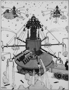 English cartoonist and illustrator William Heath Robinson above: The All-Ways-At-Once Incendiary Extinguisher; Our Grandfath. Manchester City Art Gallery, Rube Goldberg, Heath Robinson, 2d Art, Vintage Images, Illustrators, Illustration Art, Vintage Illustrations, Printmaking