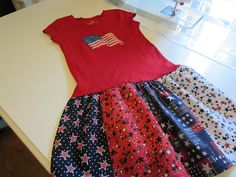 Tutorial for making a dress by using a purchased t-shirt and simply adding a gathered skirt to it by Patricia Dunn  at My Patchwork Quilt Blog