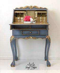 SOLD- available custom finish / Chippendale Style Secretary Desk, Handpainted Blue and Gold, Office Decoupage Furniture, Paint Furniture, Repurposed Furniture, Furniture Projects, Furniture Making, Furniture Makeover, Cool Furniture, Furniture Design, Bedroom Furniture