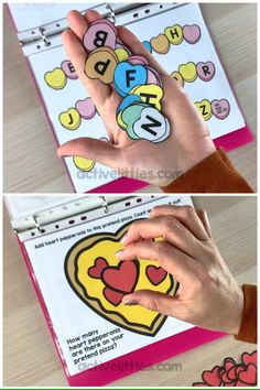 Are you looking for a fun and interactive busy book this Valentine's Day? This quiet book is perfect for early learners to practice the basic skills in a fun Valentine's theme! videos Valentine's Day Busy Book for Kids Kindergarten Learning, Preschool Learning Activities, Preschool Worksheets, Preschool Activities, Activities For Kids, Crafts For Kids, Teaching Ideas, Busy Book, Kids Education