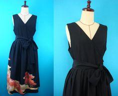 Black kimono jumper wrap dress - original clothing that used kimono of vintage…