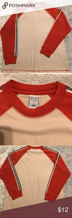 Old Navy boys shirt Size L cream & orange, 100% cotton, super soft, chest is 36 inches Old Navy Shirts & Tops Tees - Long Sleeve