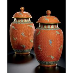 Sotheby's A RARE PAIR OF FAMILLE-ROSE IMITATION CINNABAR LACQUER JARS AND COVERS QING DYNASTY, DAOGUANG PERIOD, SHENDE TANG MARKS