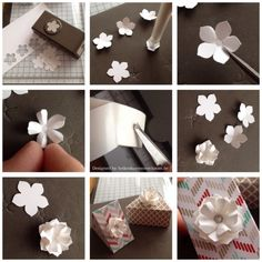 Tutorial for making paper punch flowersPetite Petals and box - has a link on page to get English instructionsthese could be formed into earrings with a little effort Handmade Flowers, Diy Flowers, Fabric Flowers, Paper Flowers, Origami, Paper Punch Art, Card Making Tips, Card Tutorials, Flower Tutorial