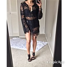 Black eyelash lace cover-up *This listing is ready for purchase*  Brand new without tags. love the delicate lace to this sexy cover up. Wear to the beach, out to brunch, or out for some drinks. What you wear underneath is the deciding factor  Will fit a small and medium.  ❌NO TRADES Price is firm Dresses