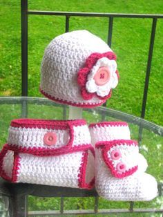 Girls White and Fuchsia Crochet Hat with by AubreyandAaden on Etsy, $45.00