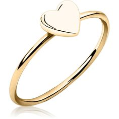 Heart Stackable Ring, Stackable Heart Ring Rings, 14k Gold... ($20) ❤ liked on Polyvore featuring jewelry, rings, vermeil ring, stackable rings, gold plated jewellery, 14 karat gold ring and vermeil jewelry